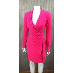 Victoria's Secret Hot Pink Faux Wrap Party Dress